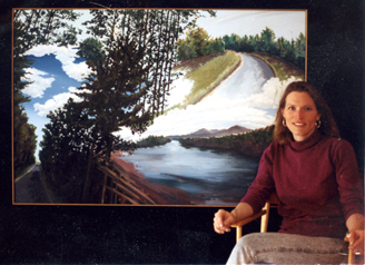 Daryl D. Johnson in her studio in Candia, NH