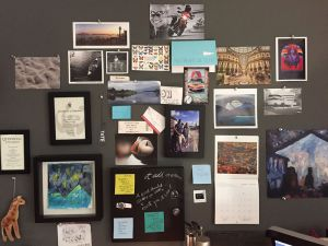 Wall above desk — could call this a Vision Board