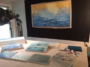 Work table where I stretch canvas and photograph my work